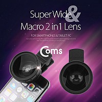 Coms 스마트폰 카메라 확대경(2 in 1) 37mm 셀카렌즈 Super Wide/Macro