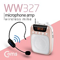 Coms Coms 휴대용 FM 무선 마이크 앰프 스피커, 핑크