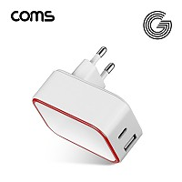 Coms G POWER 고속 가정용2구(PD18W+QC 3.0) / 화이트 / C타입 / USB A