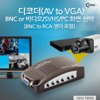 Coms 디코더(AV to VGA), BNC to RCA 젠더 포함(BNC or 비디오/S